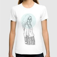 Teal Nimbus Womens Fitted Tee White SMALL