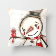 Red  Bird And Snowman - … Throw Pillow