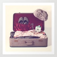 Vintage Journey Suitcase (Hers) (Retro and Vintage Still Life Photography)  Art Print