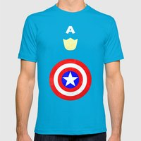 Captain America Mens Fitted Tee Teal SMALL
