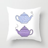 Patterned Teapots Throw Pillow