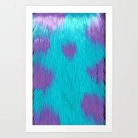 Blue Monster fur. Art Print