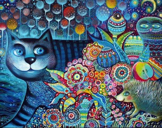 Indigo  magical cat Art Print