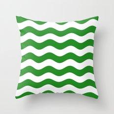 Wavy Stripes (Forest Green/White) Throw Pillow