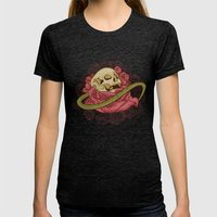 Skull N Roses Womens Fitted Tee Tri-Black SMALL