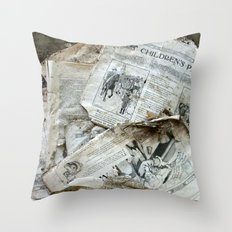 Old Newspaper Left to the Elements...Children's Page Throw Pillow