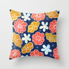 Groovy Flowers Throw Pillow