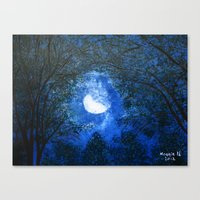 Trees In The Moonlight Canvas Print