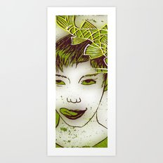 girl with a fish Art Print