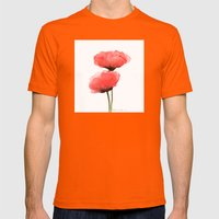 Red Flower Mens Fitted Tee Orange SMALL