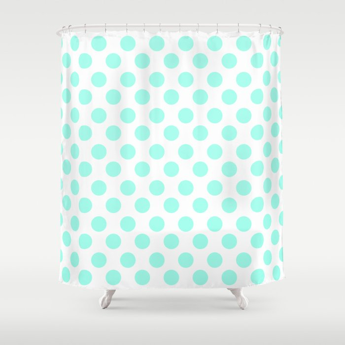 Mint Polka Dots Shower Curtain By M Studio