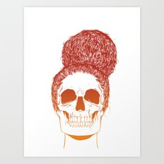 Skull Girl 2 / Burnt Bronze Art Print