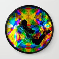 Wall Clock featuring Lost In A Rainbow by Saundra Myles