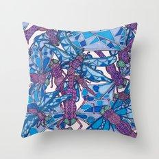 Dragonfly Disco (purple) Throw Pillow