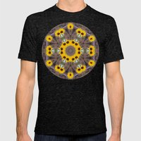 Sunflower Mandala Mens Fitted Tee Tri-Black SMALL