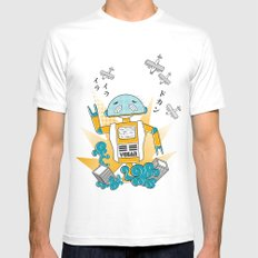 Vegan-Bot White Mens Fitted Tee SMALL