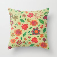 Spring Florals Yellow Throw Pillow