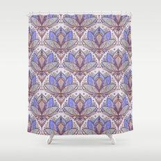Art Deco Lotus Rising 2 - sage grey & purple pattern Shower Curtain