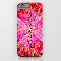 iPhone & iPod Case featuring LIFE IS BEAUTIFUL Bold Pink Bird Feathers Ocean Waves Painting Sea Romantic Love Girlie Abstract by EbiEmporium
