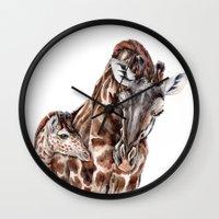 Giraffe With Baby Giraff… Wall Clock