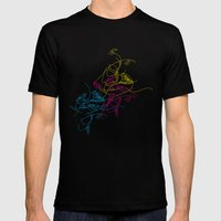 birds doodle in cmyk Mens Fitted Tee Black SMALL