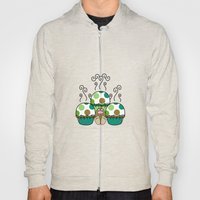 Cute Monster With Green And Brown Polkadot Cupcakes Hoody
