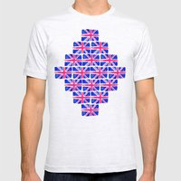 Watercolour Union Jack  Mens Fitted Tee Ash Grey SMALL