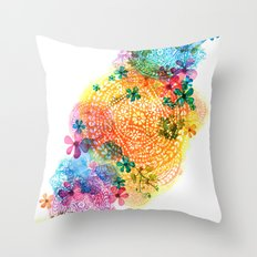rainbow mandala cloud Throw Pillow