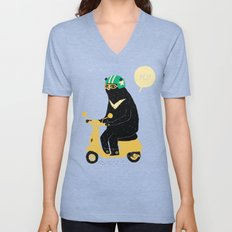scooter bear green Unisex V-Neck
