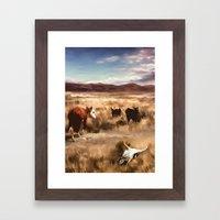 Three Cows Considering Framed Art Print