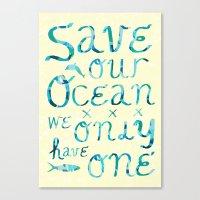 I heart ocean Canvas Print