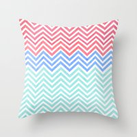 Chevron Blue And Red Vin… Throw Pillow
