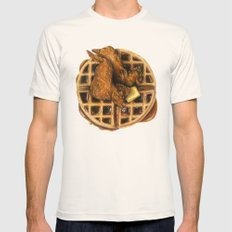 Chicken and Waffles Mens Fitted Tee Natural SMALL
