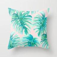 Paradise Palms Blush Throw Pillow