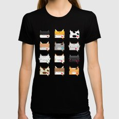 Convo Cats! Womens Fitted Tee Black SMALL