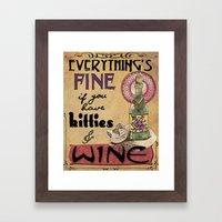 Kitties & Wine Framed Art Print