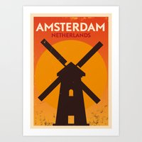 Amsterdam City Retro Pos… Art Print