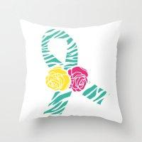 Endometriosis Ribbon 3 Throw Pillow