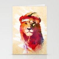 lion Stationery Cards featuring Gym Lion by Robert Farkas