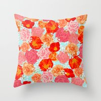 RING A RING O' ROSES -po… Throw Pillow