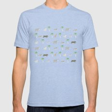 Pattern of The Darjeeling Limited & Hotel Chevalier Mens Fitted Tee Tri-Blue SMALL