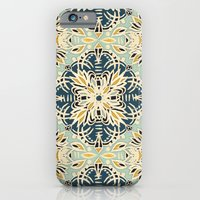 iPhone Cases featuring Protea Pattern in Deep Teal, Cream, Sage Green & Yellow Ochre  by micklyn