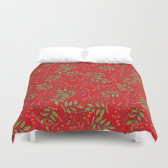 Red rowan pattern. Duvet Cover by SmallDrawing | Society6