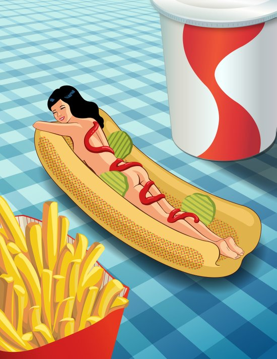 Hot Dog Girl Art Print