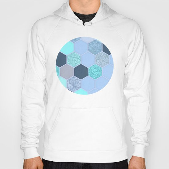 Denim Blue, Aqua & Indigo Hexagon Doodle Pattern Hoody