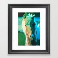Teal Horse Framed Art Print