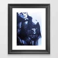 Nude Male Blue Framed Art Print