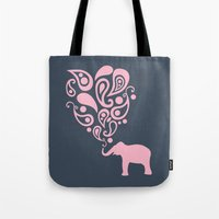 Pink Grey Paisley Elephant Pattern Design Tote Bag