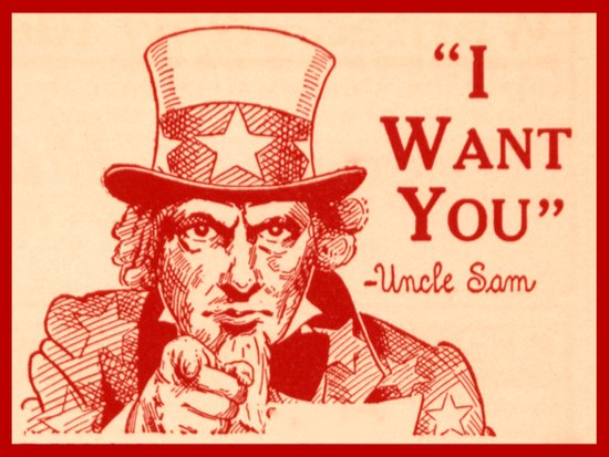 Vintage Uncle Same in Red Art Print