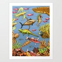 Zissou's Ocean Art Print